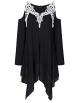 Clothes/footwear details AMZ PLUS Women Crochet Lace Asymmetrical Cold Shoulder Plus Size Tunic Top (Shirts)