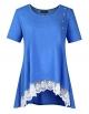 Clothes/footwear details AMZ PLUS Women Plus Size Casual Short Sleeve Loose Lace Tops Tunic Blouses Blue 2XL (Shirts)