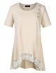 Clothes/footwear details AMZ PLUS Women Plus Size Casual Short Sleeve Loose Lace Tops Tunic Blouses Khaki 2XL (Shirts)