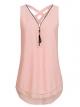 Clothes/footwear details ASSKDAN Women's V Neck Zip up Criss Cross Chiffon Sleeveless Casual Blouse Tops S-XXXXXL (Shirts)