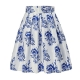 Clothes/footwear details Alistyle Womens Vintage Skirts Floral Print Pleated A-line Flared Midi Dresses with Pockets (Skirts)