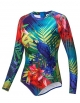 Clothes/footwear details AXESEA Womens Bathing Suit Long Sleeve Rash Guard UV UPF 50+ Sun Protection Printed Zipper Surfing One Piece Swimsuit (Swimsuit)