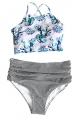 Clothes/footwear details Cupshe Fashion Women's Floral Top Stripe Bottom Padding Bikini Set (Swimsuit)