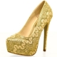 Clothes/footwear details Lasonia Lace Embroidery Glitter Dress Pumps Lm4897 Black, Gold or Silver (Platforms)