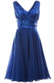 Clothes/footwear details MACloth Women V Neck Sequin Chiffon Short Bridesmaid Dress Formal Evening Gown (Dresses)