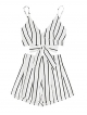 Clothes/footwear details MakeMeChic Women's 2 Piece Outfit Summer Striped V Neck Crop Cami Top With Shorts (Shorts)