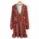 Clothes/footwear details Animal-lined long-sleeved V-neck single- (Dresses)