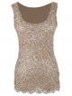 Clothes/footwear details Anna-Kaci Womens Casual Formal Embroidered Lace Sequin Sleeveless Shirt Tank Top Beige (Shirts)