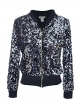 Clothes/footwear details Anna-Kaci Womens Sequin Long Sleeve Front Zip Jacket with Ribbed Cuffs (Outerwear)