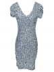 Clothes/footwear details Anna-Kaci Womens Sexy Short Sleeve Sequin Bodycon Mini Cocktail Party Club Dress Silver (Dresses)
