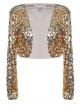 Clothes/footwear details Anna-Kaci Womens Shiny Sequin Long Sleeve Cropped Blazer Bolero Shrug Silver (Shirts)