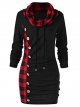 Clothes/footwear details Asskdan Women's Cowl Neck Long Sleeve Plaid Drawstring Button Ruched Hoodie Dress Tunic Sweatshirt (Dresses)
