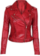 Clothes/footwear details Asymmetrical Bikers Womens Red Leather Jacket (Jacket - coats)
