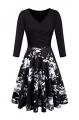 Clothes/footwear details BBX Lephsnt Women Elegant Vintage Dress V-Neck 3/4 Sleeve A-Line Slim Fit and Flare Swing Midi Dress (Dresses)