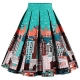 Clothes/footwear details Babyonline Women Vintage Skater Skirts High Waist Midi Print Rockabilly Skirt (Skirts)