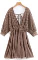 Clothes/footwear details Bat sleeve V-neck large backless A-line (Dresses)