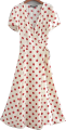 Clothes/footwear details Beige Dark Red Dot French Wrap Dress (Shirts)