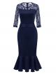 Clothes/footwear details BeryLove Women's 3/4 Sleeves Mermaid Pencil Dress Business Formal Dress with Belt (Dresses)