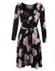 Clothes/footwear details Bifast Women's Vintage Long Sleeve v Neck Floral Print Empire Flower Ruffles Midi Swing Dress With Belt (Dresses)
