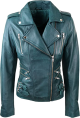 Clothes/footwear details Bikers Teal Green Leather Jackets for Womens (Jacket - coats)