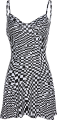 Clothes/footwear details Bohemian black and white plaid sexy dres (Dresses)
