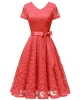Clothes/footwear details Bridesmay Women V Neck Floral Lace Cocktail Party Bridesmaid Dress with Sleeves (Dresses)