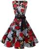 Clothes/footwear details Bridesmay Women's Classy V-Neck Audrey Hepburn 1950s Vintage Rockabilly Swing Dress (Dresses)