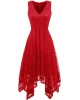 Clothes/footwear details Bridesmay Women's V-Neck Sleeveless Asymmetrical Handkerchief Hem Lace Cocktail Dress (Dresses)