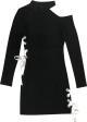 Clothes/footwear details Cutout Strap Slim Thin Long Sleeve Dress (Dresses)