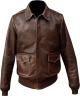 Clothes/footwear details DISTRESSED SHEEPSKIN LEATHER MENS BROWN BOMBER JACKET (Jacket - coats)