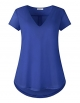 Clothes/footwear details Dimildm Women's V Neck Short Sleeve Chiffon Patchwork Knit Shirts Double Layers Casual Blouse (Shirts)