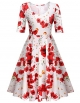 Clothes/footwear details ELESOL Women's Half Sleeve Swing Dress Flower Print A Line Tea Dress (Dresses)