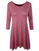 Clothes/footwear details ELF FASHION Womens 3/4 Sleeve Loose Fit Swing Tunic Tops Basic T Shirt (Tunic)