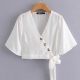Clothes/footwear details Fashion wild V-neck long-sleeved button- (Shirts)