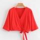 Clothes/footwear details Fashion wild solid color V-neck drawstri (T-shirts)