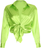 Clothes/footwear details Fluorescent green satin knotted shirt (Shirts)