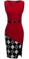 Clothes/footwear details HOMEYEE Women's Elegant Patchwork Sheath Sleeveless Business Dress B290 (Dresses)