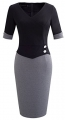 Clothes/footwear details HOMEYEE Women's Official Wear to Work Half Sleeve V Neck Pencil Bodycon Dress B364 (Dresses)