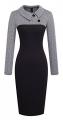 Clothes/footwear details HOMEYEE Women's Retro Chic Colorblock Lapel Career Tunic Dress B238 (Dresses)