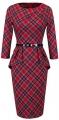 Clothes/footwear details HOMEYEE Women's Vintage Tartan Wear to Work Bodycon Dress B267 (Dresses)