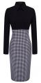 Clothes/footwear details HOMEYEE Women's Voguish Houndstooth Long Sleeve Career Pencil Dress B31 (Dresses)
