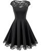Clothes/footwear details Homrain Women's Vintage 1950s Floral Lace Scoop Neck Cap Sleeve Cocktail Party Dress (Dresses)