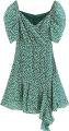 Clothes/footwear details Irregular green floral V-neck bubble sle (Dresses)