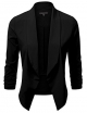 Clothes/footwear details JJ Perfection Women's Lightweight Thin Chiffon Ruched Sleeve Open-Front Blazer (Shirts)