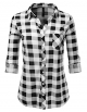 Clothes/footwear details JJ Perfection Womens Long Sleeve Collared Button Down Plaid Flannel Shirt (Shirts)