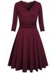 Clothes/footwear details Kimmery Women's Cross V Neck 3/4 Sleeve Fit Flare Empire Waist Dress (Dresses)