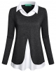 Clothes/footwear details Kimmery Women's Long Sleeve Collared Patchwork 2 in 1 Layered Top Blouse (Shirts)