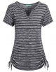 Clothes/footwear details Kimmery Womens Notch V Neck Short Sleeve Loose Fit Drawstring Side Striped Shirts (Shirts)