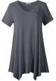 Clothes/footwear details LARACE Women Casual T Shirt V-Neck Tunic Tops for Leggings(2X, Deep Gray) (Shirts)