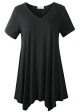 Clothes/footwear details LARACE Women Casual T Shirt V-Neck Tunic Tops for Leggings(S, Black) (Shirts)